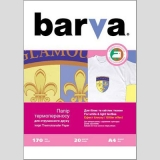 Бумага BARVA THERMOTRANSFER Белые Ткани 210g A4 20л с блеском